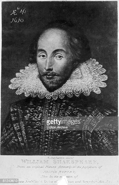 Circa 1610 Engraving after a portrait by Jansen of the English dramatist William Shakespeare