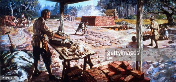 Circa 1610 Workers shaping and drying bricks in Jamestown Virginia the first permanent English settlement in America