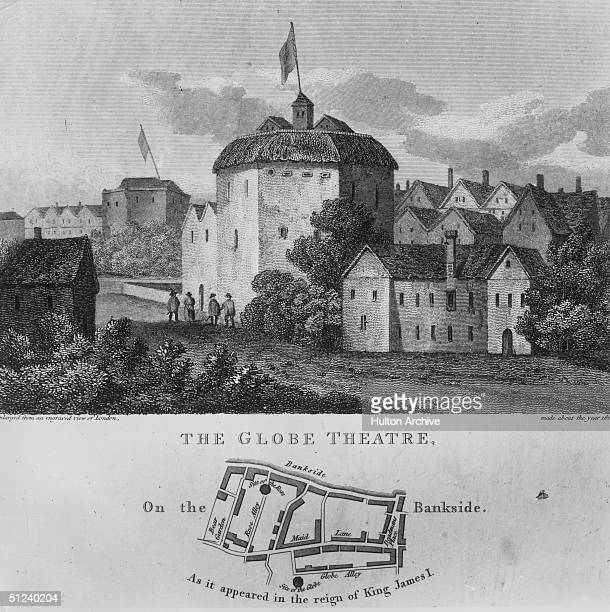 Circa 1612 The Shakespearian Globe Theatre on the banks of the River Thames in London Moved to this Southwark site in 1798 it was accidentally burnt...