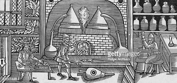 Circa 1615 Pharmacists mixing balms and ointments