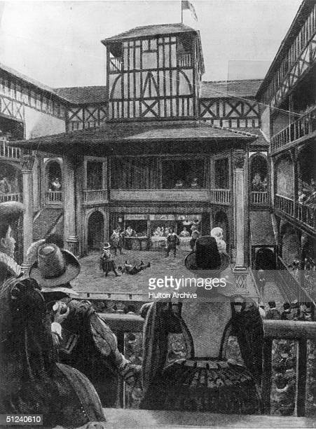 Circa 1620 Interior of London's Fortune Theatre Similar in design and dimension to the Globe Theatre the Fortune was built in 1600