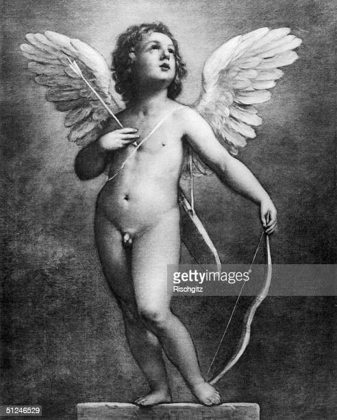 Circa 1630 A winged Cupid the son of Venus in Roman mythology and the mischievous god of love carrying a bow and a quiver of arrows Original Artwork...