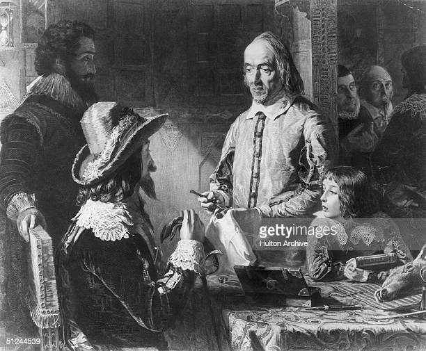 Circa 1630 English physician William Harvey who discovered the circulation of the blood demonstrating his theories to King Charles I Original Artwork...
