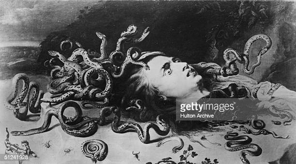 Circa 1630, Medusa, one of the Gorgons from Greek mythology, whose gaze turned men to stone and whose head was cut off by the hero Perseus. From her...