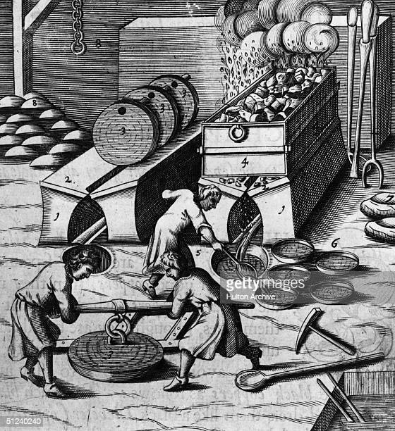 Circa 1630 The process of silver being separated from unclean black coppers Original Publication From the 'Laws of Art and Nature' by Sir John Pettus