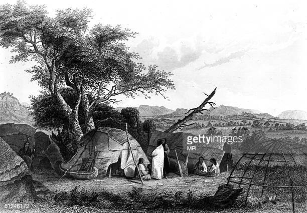 Circa 1634 The construction of a wigwam in a Winnebago village in modern Wisconsin Animal skins are stretched over a hemispherical wooden frame as...