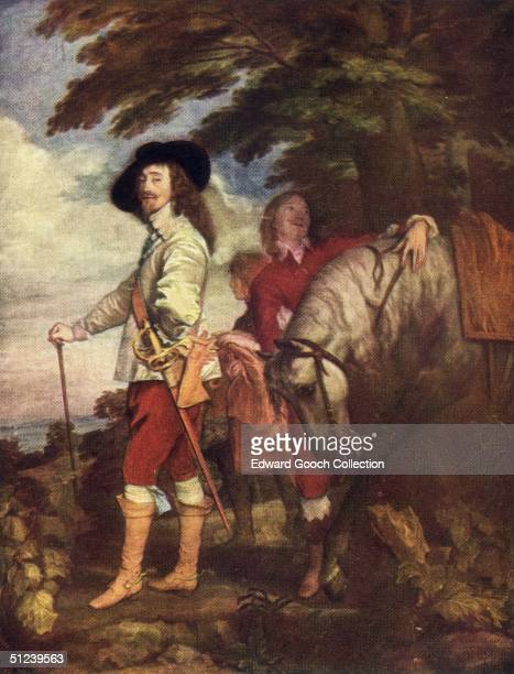 Circa 1635 King Charles I of England during a hunt while a servant minds his horse 'King Charles at the Hunt' by Sir Anthony Van Dyck
