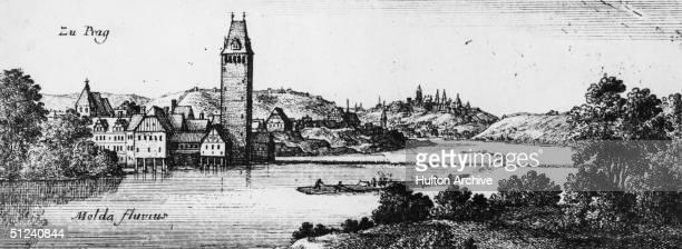Circa 1640 The city of Prague capital of the Czech Republic on the River Vltava Original Artist By Wenzel Hollar