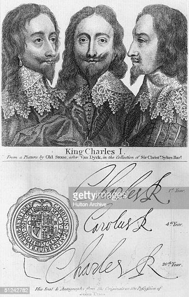 Circa 1645 King of England Charles I The royal seal royal arms and royal signatures are inscribed beneath the bust portraits Original Artwork 'From a...