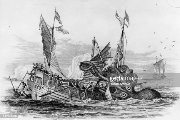 Circa 1650 A kraken attacking a ship
