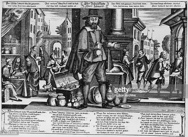 Circa 1650 An allegorical illustration depicting the beneficial results of money lending After the Thirty Years War German agriculture and industry...