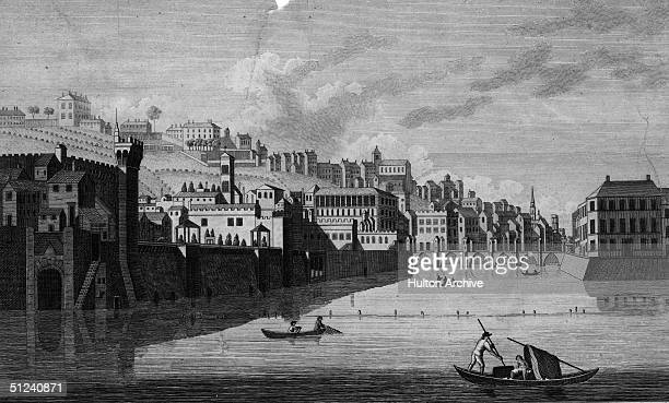 Circa 1650, Florence in Tuscany, from the River Arno. Original Artwork: Engraving by Eastgate