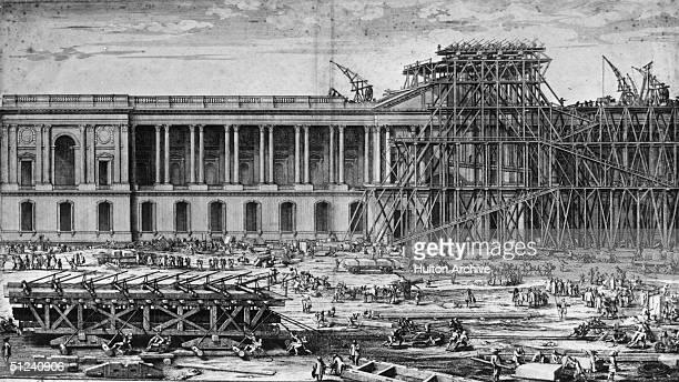 Circa 1650, The Louvre under construction in Paris. Original Artwork: Engraving by S le Clerc.