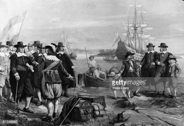 Circa 1660 The sailing of the Princess Amelia from New York back to Holland for resupplies The new governor was Peter Stuyvesant who is seen with a...