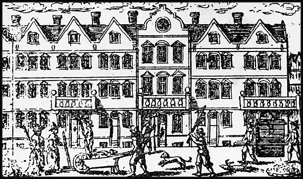 A street scene during the Great Plague of London, which...