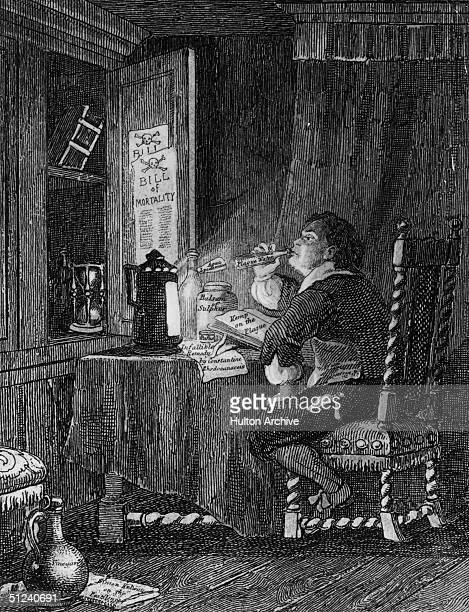 Circa 1665, Blaize tastes the various remedies for the plague, in a scene from William Ainsworth's historical novel 'Old St Paul's'. Original...