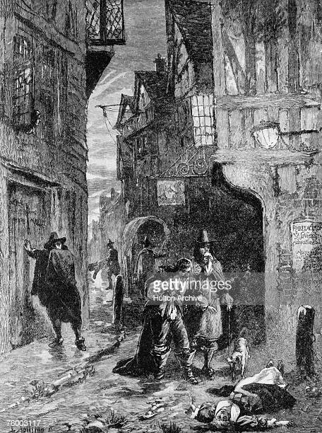 Two gentlemen come across the body of a young woman lying in the street during the Great Plague of London. The epidemic killed 20 per cent of...