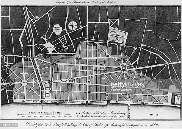 Circa 1666 Sir Christopher Wren's plans for rebuilding the City of London after the Great Fire of 1666 The lightly shaded area shows the extent of...