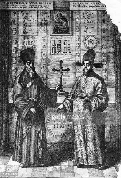 Circa 1667 An illustration from a Chinese manuscript of the Jesuit missionary to China Matteo Ricci and his first convert