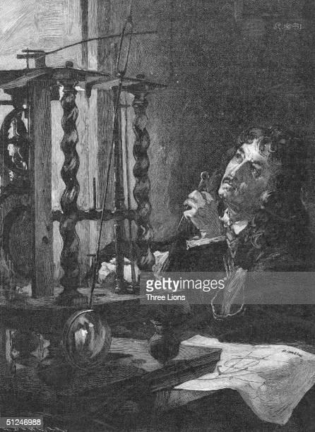 Circa 1670 Dutch mathematician and astonomer Christiaan Huygens building the first pendulum clock