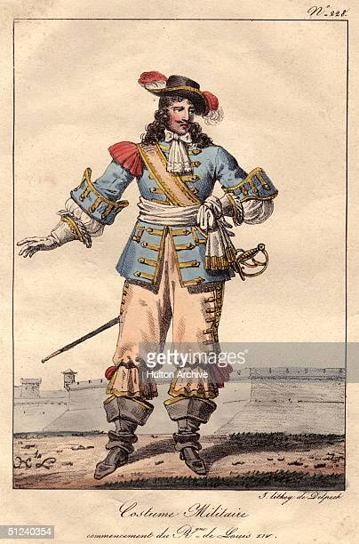 Circa 1670 Military costume at the time of the reign of Louis XIV