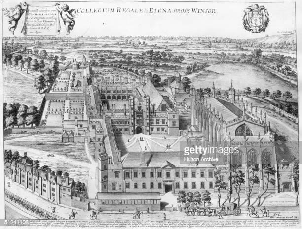 Circa 1680 An architectural engraving of Eton College in Windsor itemising the various buildings Original Artist David Loggan