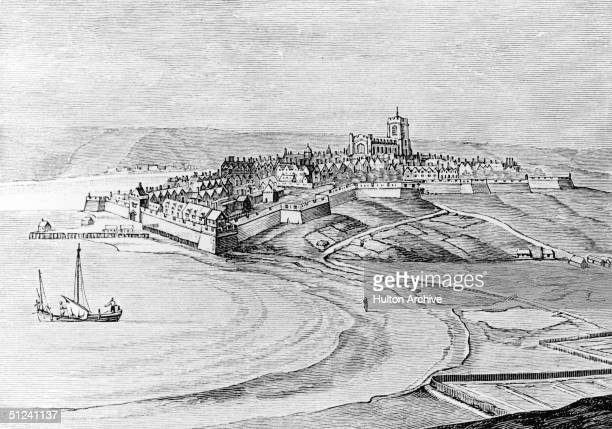 Circa 1680 Derry city on the banks of Lough Foyle