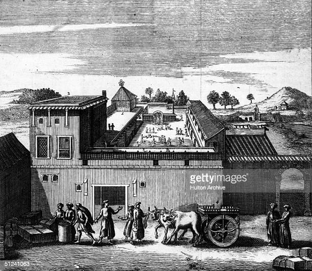 Circa 1680 The trading post established by the British East India Company at Surat