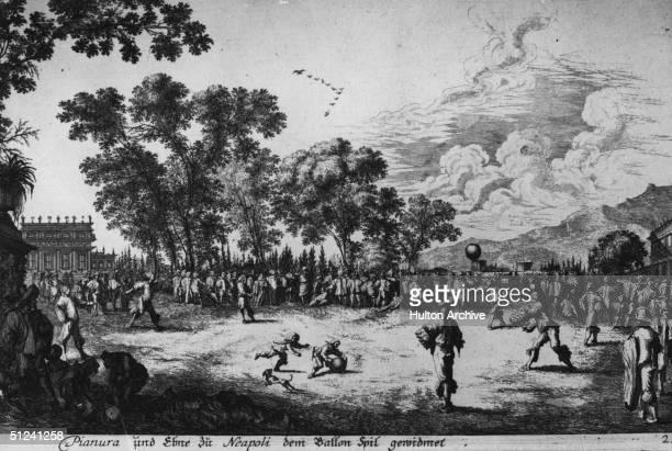 Circa 1689, A painting of a 17th century Football Association match.