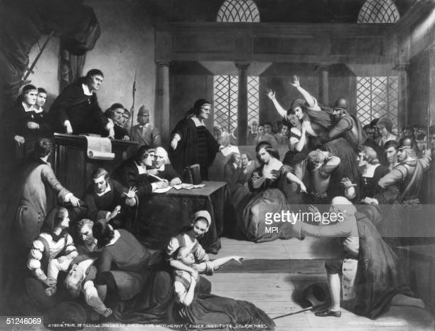Circa 1692, The trial of George Jacobs for witchcraft at the Essex Institute in Salem, Massachusetts.