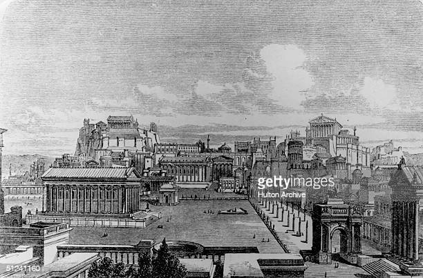 Circa 1700 A general view of ancient Rome in an imaginary restored state