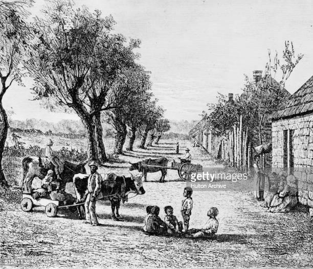 Circa 1700 A negro village in Georgia