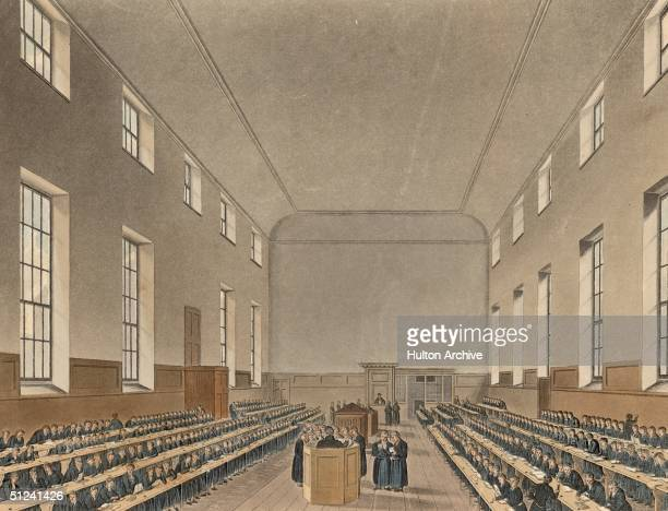 Circa 1700 Christ's Hospital grammar school in Newgate London founded by King Edward VI in 1552 to educate poor children Original Artwork Engraving...