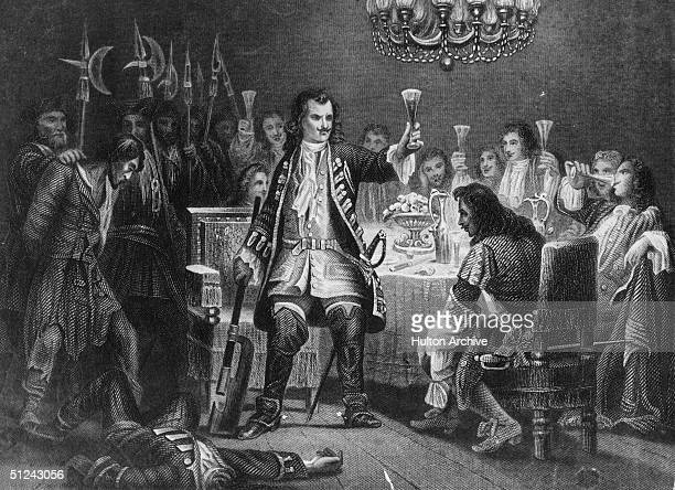 Circa 1700 Peter the Great Tsar of Russia beheading one of the rebel Streltsy in front of his nobles
