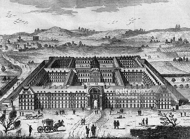 Circa 1700, The Hotel des Invalides in Paris, founded by Louis XIV in 1671 to house wounded soldiers from the many wars waged during his reign.