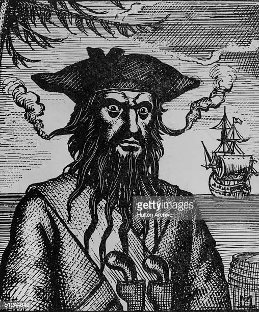 Circa 1715 Captain Edward Teach better known as Blackbeard a pirate who plundered the coasts of the West Indies North Carolina and Virginia His hair...