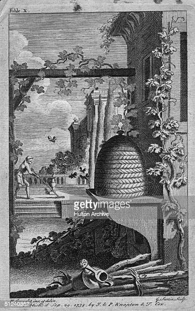 Circa 1720 A beehive at a palatial estate with a gardener raking the lawn in the background