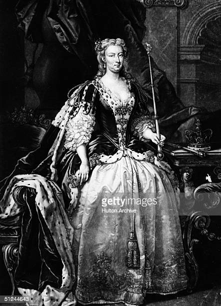 Circa 1727, Queen Caroline, , the wife of King George II, king of Great Britain from 1727 to 1760. She was born Wilhelmina Caroline of Anspach....
