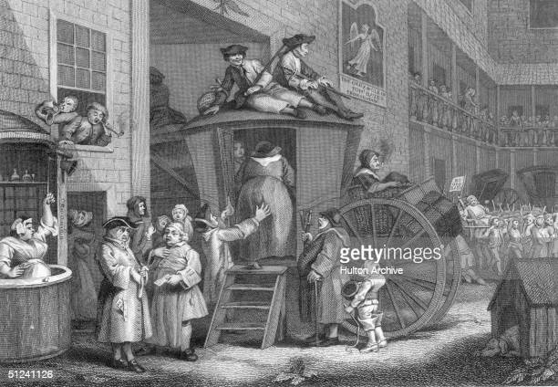 Circa 1730 In the courtyard of the 'Old Angle Inn' a coach is loading its passengers and a comfortably built woman is helped in with the aid of a...