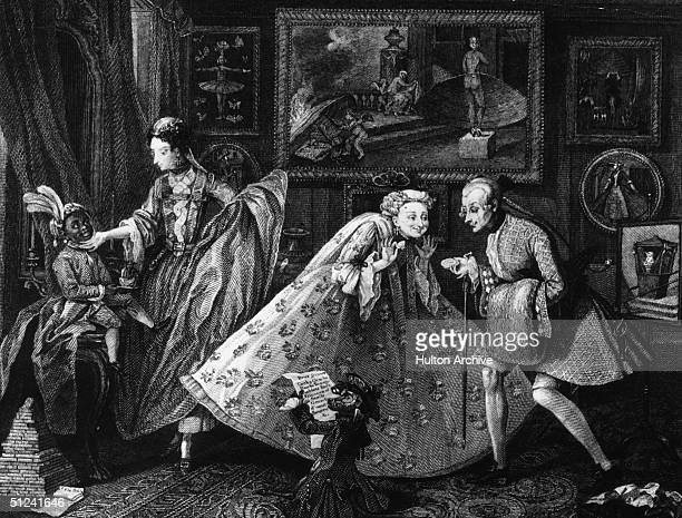 Circa 1742 The welltodo revel in their own sense of style and possessions which include a black slaveboy a large art collection and a monkey Original...