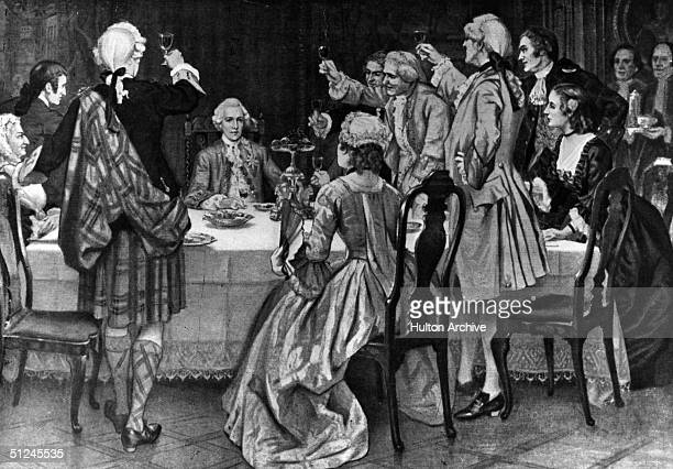 Circa 1745 Charles Edward Louis Philip Casimir Stuart also known as the Young Pretender and Bonnie Prince Charlie is toasted by supporters at the...