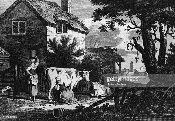 Circa 1750 A cow is milked outside a farm cottage in Massuchusetts Original Artwork Engraved by Mason after J Collet