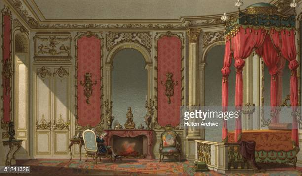 Circa 1750 A man reading in his richly furnished bedroom in an 18th century French mansion Original Publication From 'The 18th Century in France' by...
