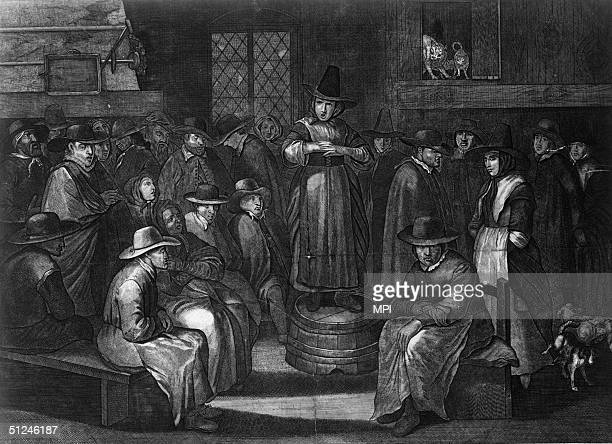 Circa 1750, A Quaker prayer meeting in France in the mid-1700s.