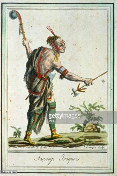 Circa 1750 An Iroquois warrior with an axe facepaint and jewellery Original Artwork An engraving by J Laroque after J Grasset St Sauveur