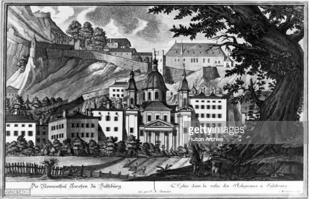 Circa 1750 Church at Salzburg birthplace of Mozart Set in the Valley des Religieuses Original Artwork Engraving after F A Danreiter