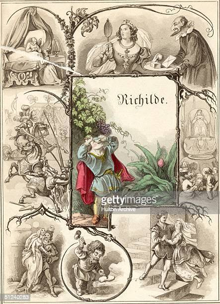 Circa 1750 Illustrations from the fairy tale of 'Richilde' by Johann Karl August Musaus later turned into the story of 'Snow White' by the Brothers...