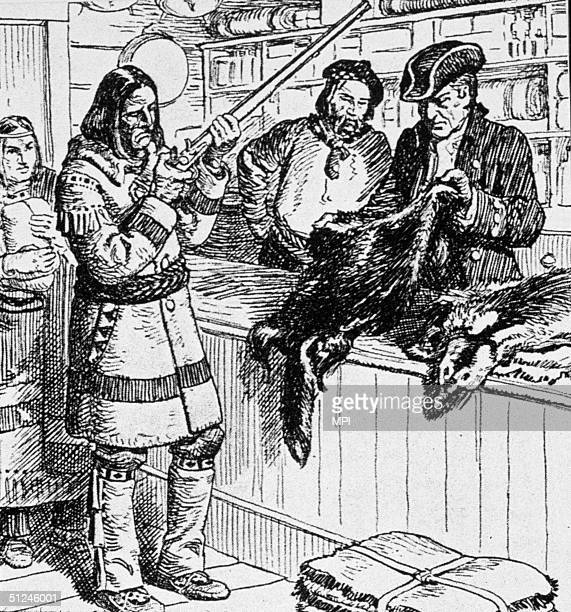 Circa 1750 Native Canadians swapping their furs for rifles with French colonists