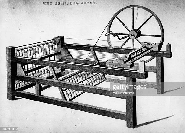 Circa 1750 The 'Spinning Jenny' invented by James Hargreaves in 1764 which allowed one person to spin several threads at once