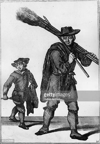 Circa 1750 Two London chimney sweeps one still small enough to fit inside narrow passages Original Artwork An engraving by Mannon from Tempest's...
